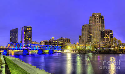 Grand Rapids At Dusk Print by Twenty Two North Photography