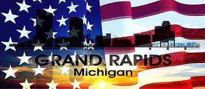 Grand Rapids Mi Patriotic Large Cityscape Print by Angelina Vick