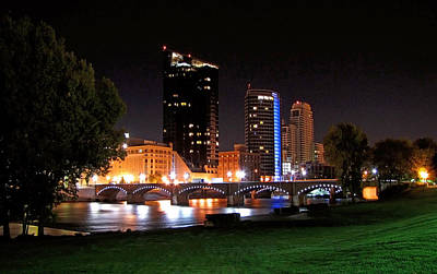 Grand Rapids Michigan At Dusk Print by Debra  Miller