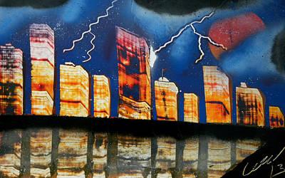 Grand Rapids Skyline At Night Print by Chris DeVries
