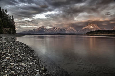 Grand Teton Mountain Range In  Grey And Pink Morning Sunlight Print by Jo Ann Tomaselli