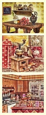 Grandma Kitchen Triptic Print by Mo T