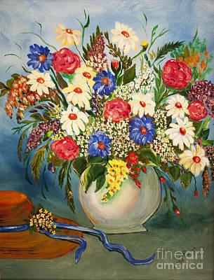 Grandma's Hat And Bouquet Print by Janice Rae Pariza