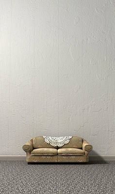 Grandmas Lonely Sofa Print by Allan Swart