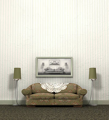 Grandmas Old Sofa Print by Allan Swart