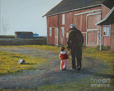Matte Painting - Grandpa And Me by Jeanette French