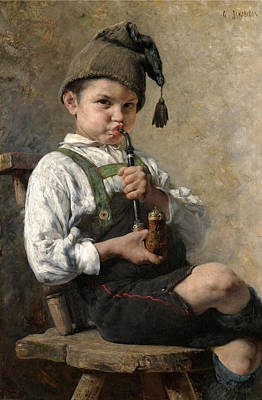 Georgio Painting - Grandpa's New Pipe  by Georgios Jakovidis