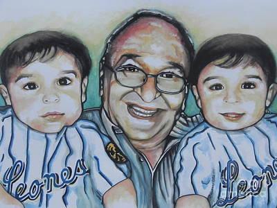 Baseball Card Painting - Grandpas Pride And Joy by Chrisann Ellis