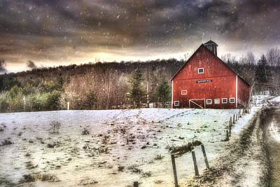 Red Barn In Winter Photograph - Grand View Farm - Vermont Red Barn by Joann Vitali