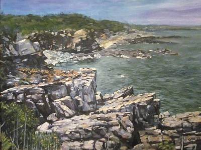 Ogunquit Beach Painting - Granite Cliffs Along Marginal Bay Ogunquit Maine by Victor SOTO