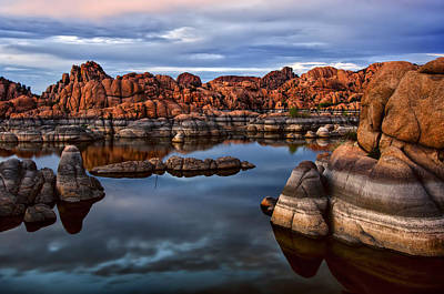 Granite Dells At Watson Lake Arizona 2 Print by Dave Dilli