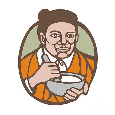 Granny Cook Mixing Bowl Linocut Print by Aloysius Patrimonio