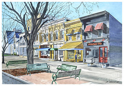 Early Spring Painting - Granville Ohio Benches And Branches by Rick Mock