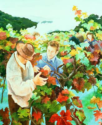 Grape Vine Painting - Grape Pickers by Cristiana Angelini