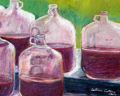 Grape Stomp Residuals Pastel Print by Antonia Citrino