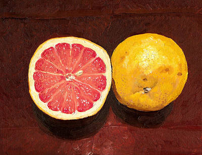Grapefruit Painting - Grapefruits Oil Painting by