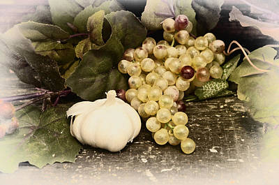 Grapes And Garlic Print by Bill Cannon