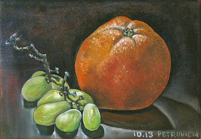 Grapes And Grapefruit Print by Petrovich