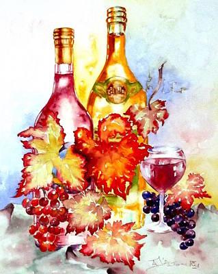 Grapes And Wine Print by Anne Dalton