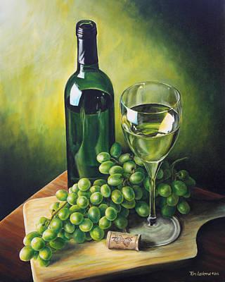 Grapes And Wine Print by Kim Lockman