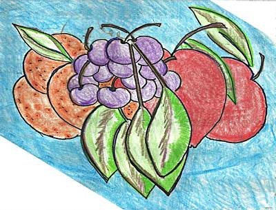 Abstract Digital Drawing - Grapes by Becky Sterling