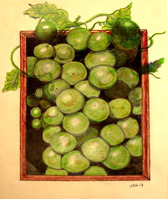 Grapes From A Frame Print by Joseph Hawkins