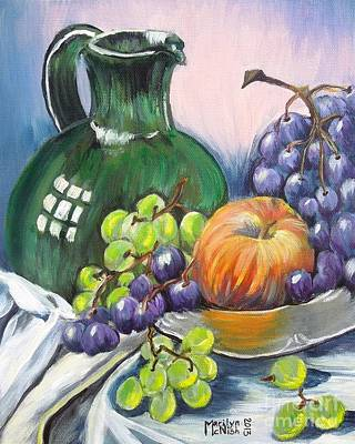 Water Pitcher Painting - Grapes Galore by Marilyn  McNish