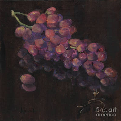 Grapes In Reflection Print by Maria Hunt
