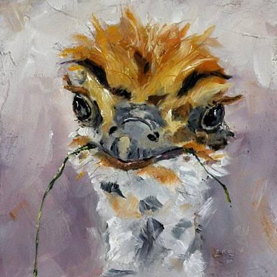 Ostrich Mixed Media - Grass Fed - An Ostrich by Saundra Lane Galloway