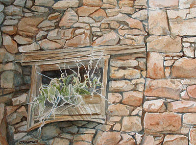 Ghost Town Painting - Grass In The Window by Jenny Armitage