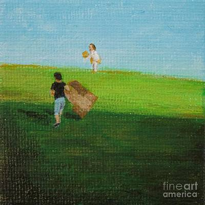 Grass Sledding  Print by Amber Woodrum