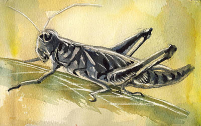 Grasshopper Painting - Grasshopper by Alfred Ng