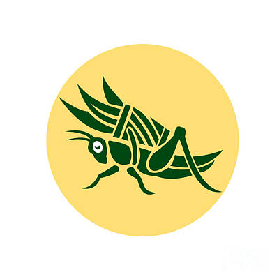 Grasshopper Digital Art - Grasshopper Carrying Basket Grass Blade Retro by Aloysius Patrimonio