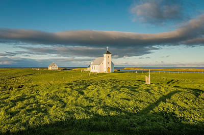 Grasslands And Flatey Church, Flatey Print by Panoramic Images