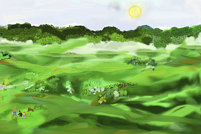 Moon Digital Art - Grassy Knoll On A Recent Walk by SC Heffner