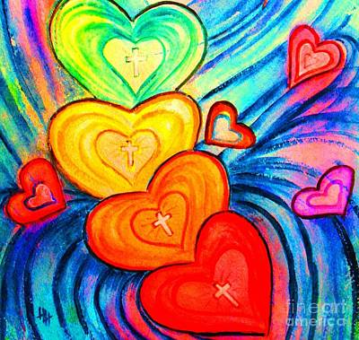 Forgiveness Painting - Grateful Hearts by Hazel Holland