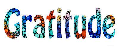 Gratitude 1 - Inspirational Art Print by Sharon Cummings