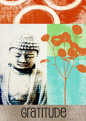Yoga Painting - Gratitude Card- Zen Buddha by Linda Woods