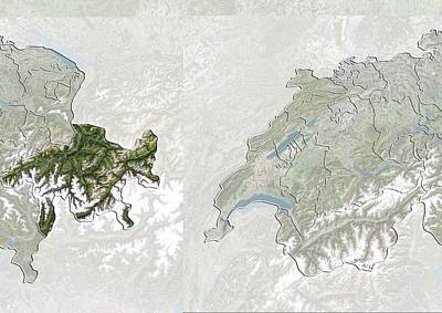 Graubunden, Switzerland, Satellite Image Print by Science Photo Library
