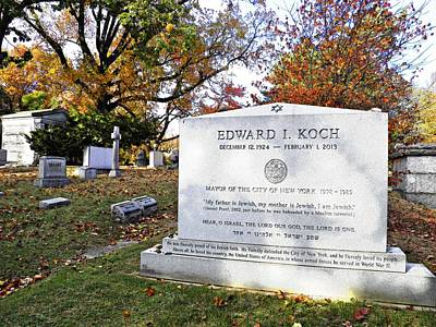 Grave Of Nyc Mayor Ed Koch Print by Sarah Loft