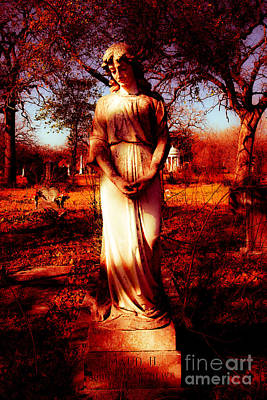 Gravesite In Red Print by Sonja Quintero