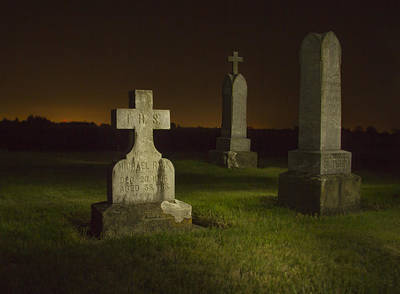 Gravestones At Night Painted With Light Print by Jean Noren
