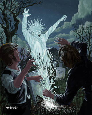 Victorian Death Digital Art - Graveyard Digger Ghost Rising From Grave by Martin Davey