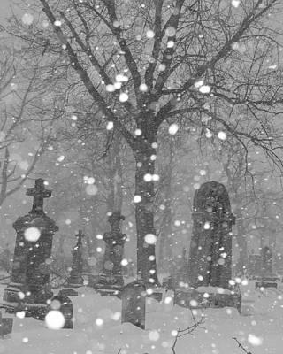 Graveyard Digital Art - Graveyard In Winter by Gothicolors Donna Snyder