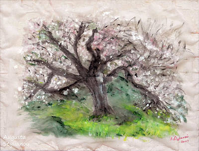 Fantasy Tree Art Painting - Gravity Of The Almond Tree by Augusta Stylianou