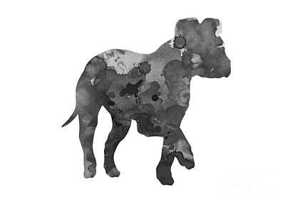 Puppy Mixed Media - Gray Amstaff Watercolor Art Print Painting by Joanna Szmerdt