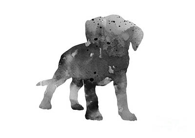 Boxer Dog Mixed Media - Gray Boxer Puppy Silhouette by Joanna Szmerdt