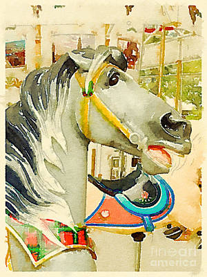 Gray Carousel Horse Print by Janet Dodrill