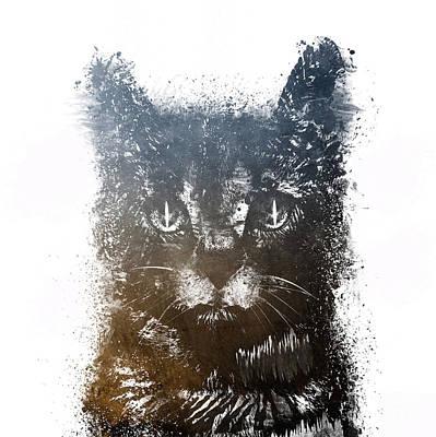 Cat Digital Art - Gray Cat Lucky by Justyna JBJart