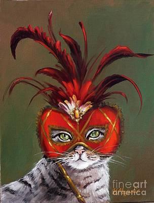 Mardi Gras Painting - Gray Cat With Venetian Mask Fairy Tale by Viktoria K Majestic